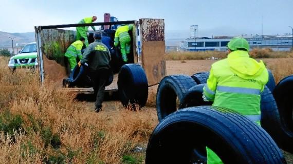 Retiradas casi 10 toneladas de neumáticos abandonados y fuera de uso