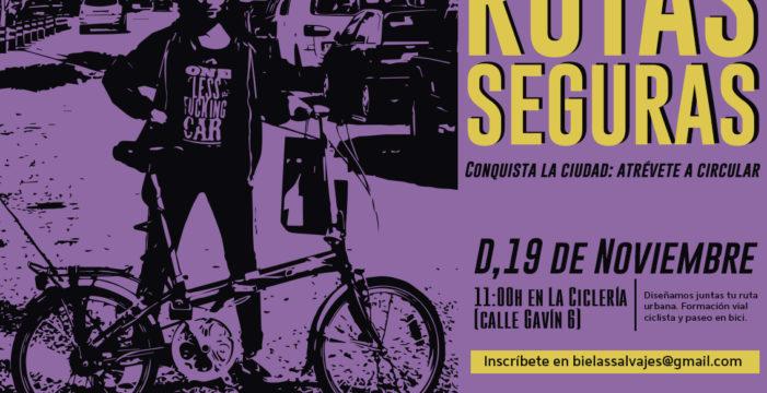 La actividad 'Rutas Seguras: Conquista la ciudad, atrévete a circular', este domingo 19 de noviembre en Zaragoza