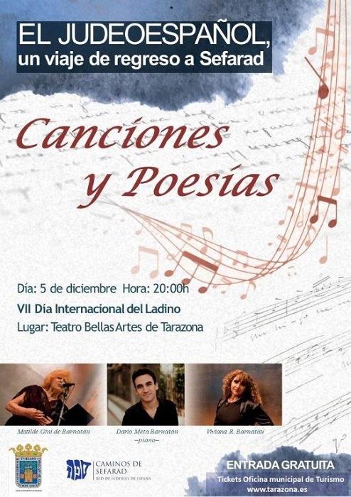 Cartel del recital de músicas sefardí que se celebra en Tarazona.