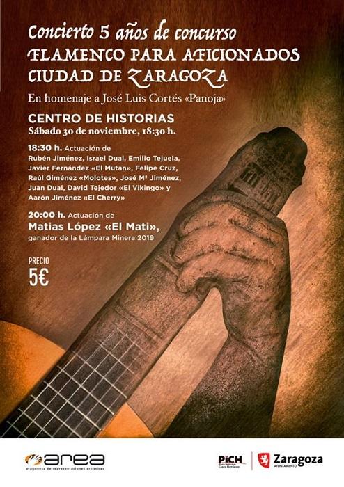 Cartel del concierto conmemorativo de los cinco años del Concurso de Flamenco para aficionados ciudad de Zaragoza.