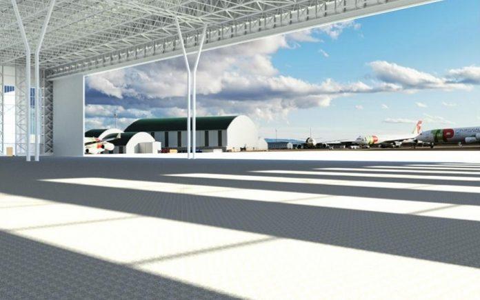 Infografía del hangar doble A380 del Aeropuerto de Teruel.