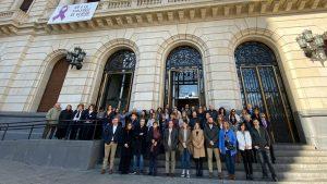 Minuto de silencio en la Diputación de Zaragoza este 25N.