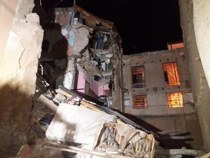 Así quedó el edificio tras el derrumbe en Tarazona.