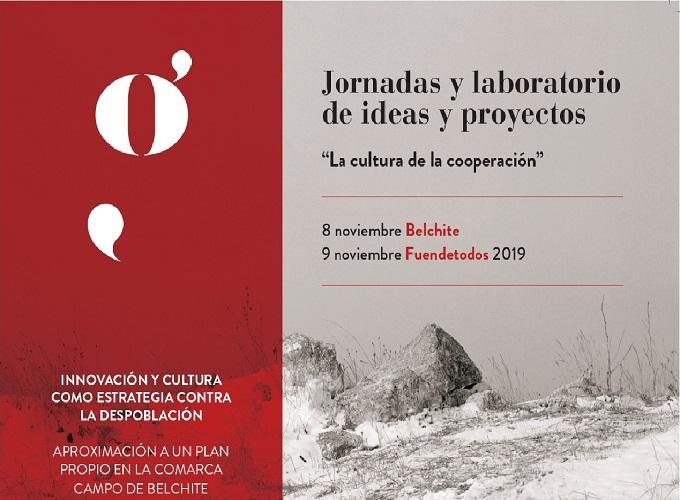 """cartel del encuentro """"Experiencias y estrategias de innovación y cultura contra la despoblación. Aproximación a un Plan propio en la Comarca Campo de Belchite"""""""