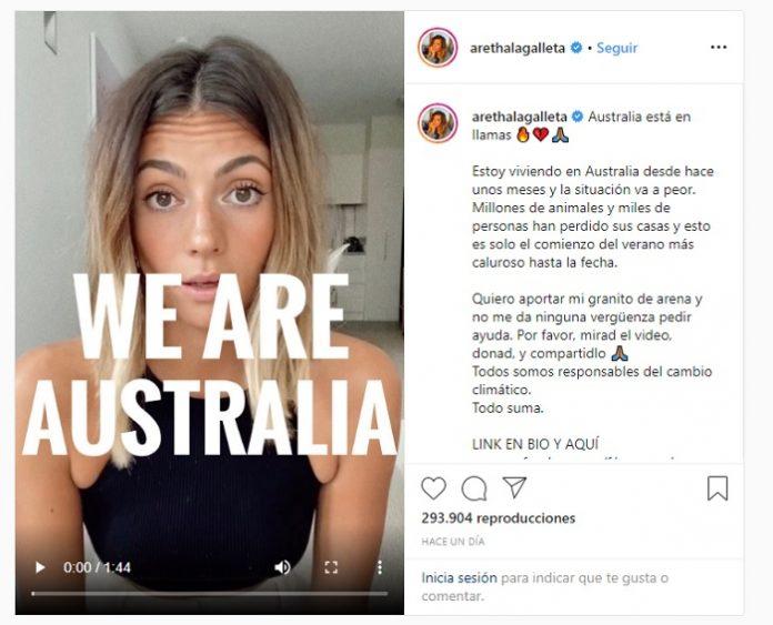 La influencer Aretha Fusté pide ayuda en un vídeo para salvar Australia.