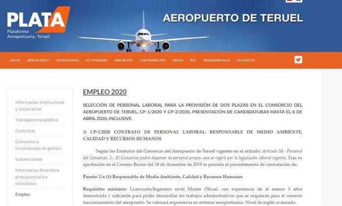 El Aeropuerto de Teruel abre el plazo para la contratación de dos personas