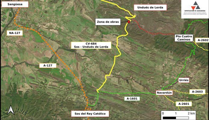Construyen un terraplén en la carretera de Sos del Rey Católico y Undués de Lerda