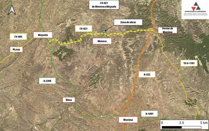 Obras de mejora en la carretera que une Moyuela y Moneva, la CV-821