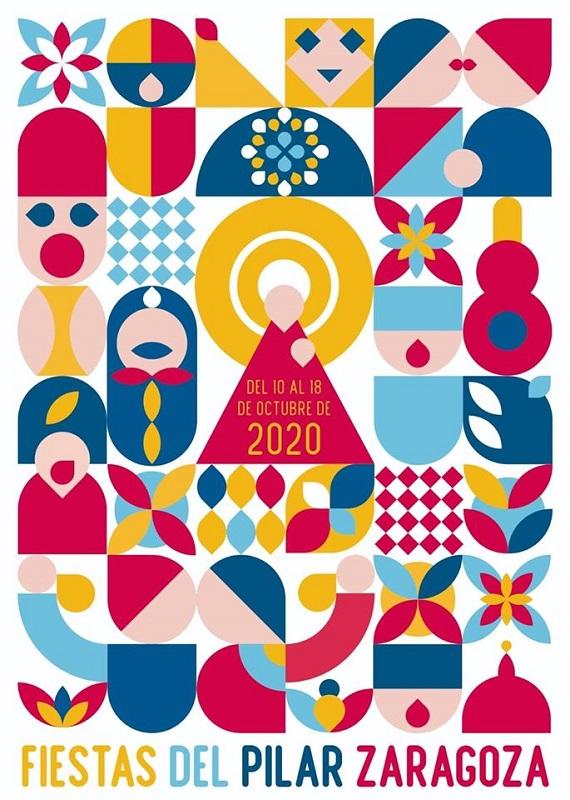 'Pilares geométricos', cartel anunciador de las Fiestas del Pilar 2020