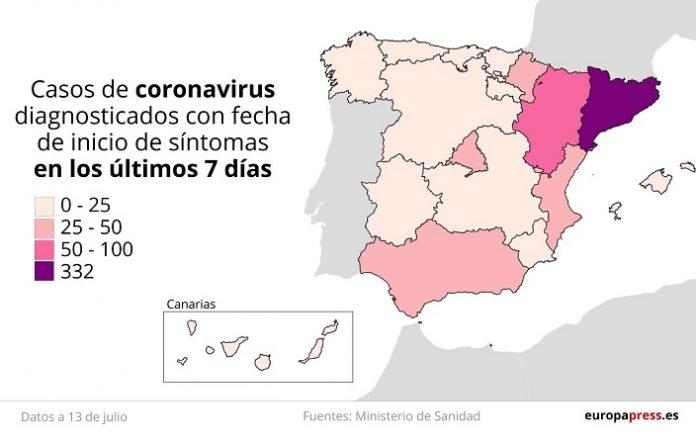 Mapa de la situación nacional de brotes por covid-19