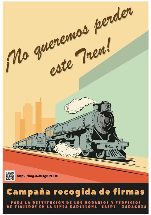 Caspe recoge firmas para restituir el tren Barcelona-Caspe-Zaragoza