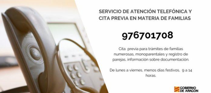 Nuevo servicio de cita previa por teléfono para trámites de familias en Aragón